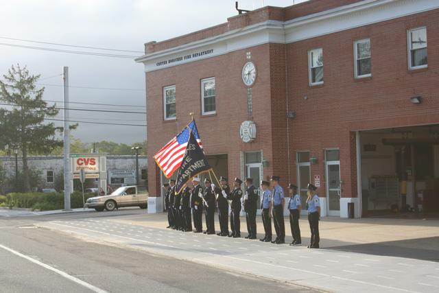 Color Guard Waits as WTC Steel is brought to CM Firehouse