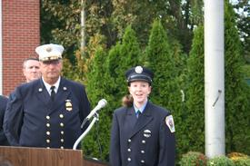 "Center Moriches Fire Department Probationary Firefighter Maria Warner singing ""God Bless America"""