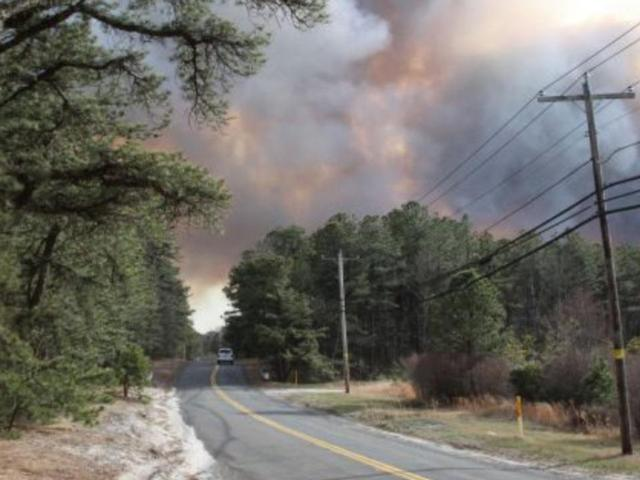 Center Moriches Firefighters Battle Massive Brush Fire In